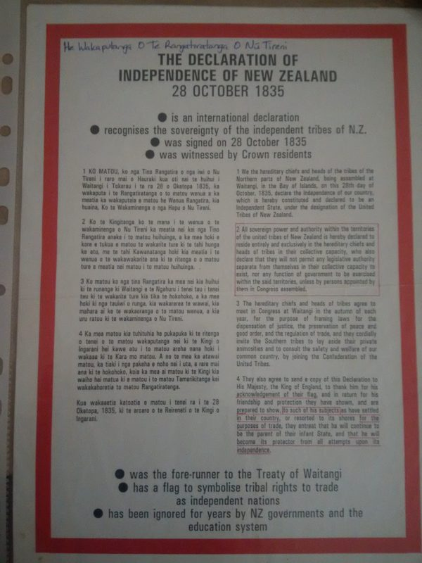 1835 Declaration of Independence of New Zealand