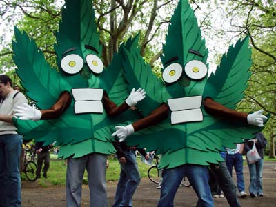 Happy weed mascots