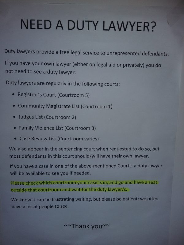 Duty Lawyer Notice at Auckland District Court